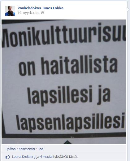 Europarlamenttiin pyrkivä Junes Lokka jakaa vaalisivuillaan uusnatsijärjestön mainosta.